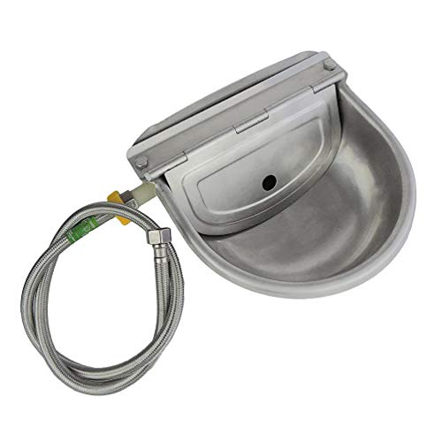 Lucky Farm Automatic Water Feeder Trough Bowl with Pipe for Cattle Horse Goat Sheep Dog Animals Stainless Pet Livestock Tool (For Dogs Bowls Outdoor Water)