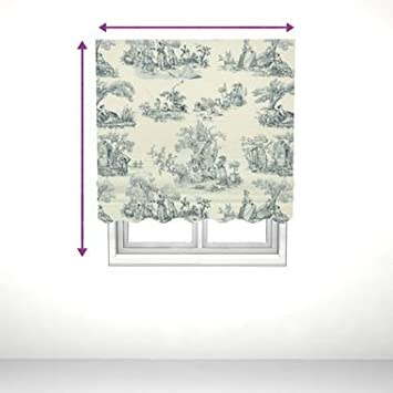 saustark design roman blind with valance in paris toile blue by ikea