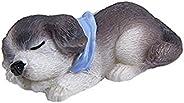 Wesource Resin Miniature Lying Dog Figurine Micro Landscape Bonsai Pot Decor (Gray+White)