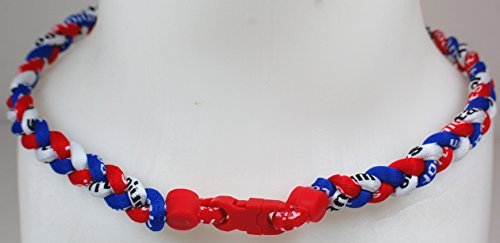 (NEW! Sports Farm Custom Clasp Tornado Necklace - Red White Royal Blue (Red Clasp))