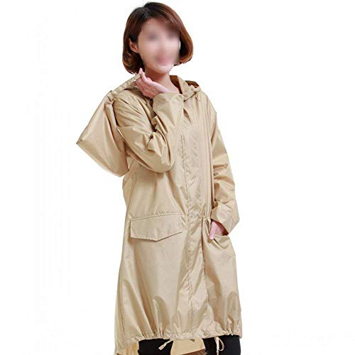 Manica Giacca Khaki Impermeabile Autunno Lunga Giovane Incappucciato Moda Con Sezioni Casual Outerwear Coulisse Eleganti Tasche Donna Raincoat Invernali yN0Ownvm8