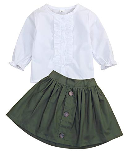 Little Girls 2 Piece Clothes Set Kids Fall School Oufits Ruffles Clean White Shirt Buttons A-line Skirt Set (Army Green Skirts + White Blouse, 4T for 4 Years Old) ()