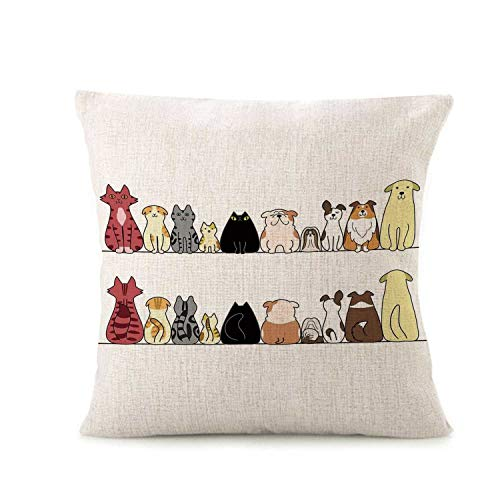 (Kids Fashionable Pillow Cover,Cats and Dogs Collie Calico Labrador Scottish Shorthair Tabby Shih Tzu Pet Lovers Art Print Decorative for Throw Pillow,16.5