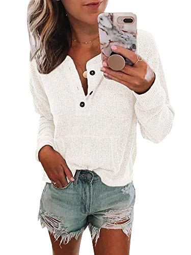 - Womens Long Sleeve Waffle Knit Henley Tops Button Down Pullover Blouse with Pocket White