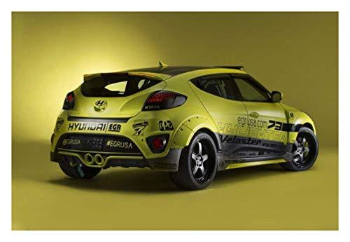 Hyundai Veloster Turbo Yellowcake Night Racer (2013) Car Art Poster Print  on 10 mil Archival Satin Paper Yellow Rear Side Studio View 16