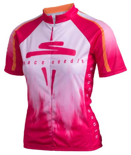Space Needle Cycling Jersey with Trees and Olympic Mountains, Pink, Women's