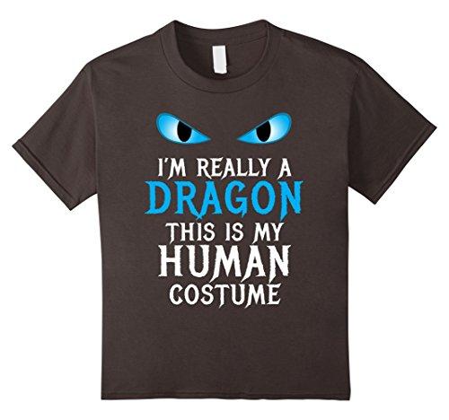 Scary School Girl Costume Diy (Kids I'm Really a Dragon Costume Cool Scary Funny Halloween Shirt 12 Asphalt)
