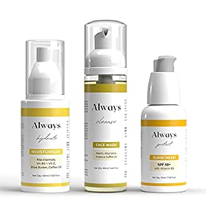 Always Essential Fit Skin Combo Pack For Men & Women With Face Wash, Face Moisturiser & Sunscreen Complete Face Care Kit…