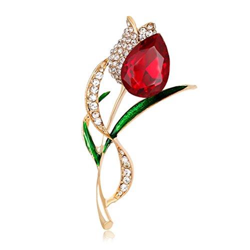 Tulip Brooch Pin (Brooch Pin Tulip Flower Diamond Buttons for Women Bridal Girls Kid)