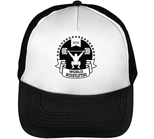 Snapback Hombre Negro World Beisbol Blanco Sport Badge Weightlifting Gorras q4FHwX