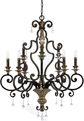 - Quoizel MQ5009HL Marquette Wrought Iron Crystal Foyer Chandelier, 9-Light, 540 Watts, Heirloom (41