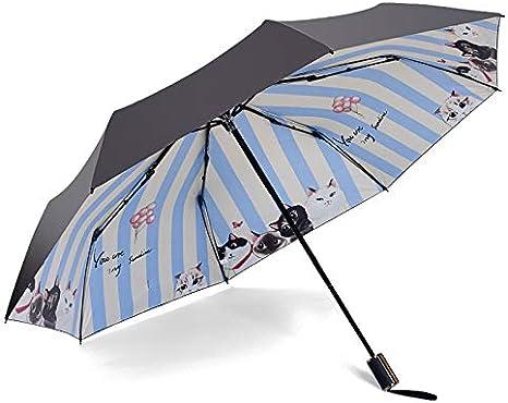 XCWQ Parapluie Parapluie Triple pour Le Vent Crayon Rainy Animal Chat Noir Enduit Parasol Parapluie De Poche
