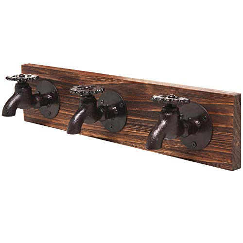 - MyGift Country Rustic Old Fashion Faucet Wall Mounted Iron & Wood 3 Coat Hooks Garment, Towels, Hat Hanger Rack