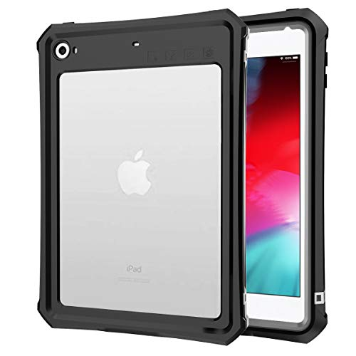 Mini 5 Case 2019, iPad Mini 4 Case, Waterproof Case Compatible Mini 5 / Mini 4 Slim Fit Full Body Shockproof Cases Clear with Built in Screen Protector Stand Back Cover for iPad Mini 5/4 (Black) ()