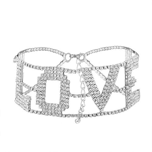 MengPa Silver Rhinestone Choker Necklace for Women Fashion Letter Love Collar Wedding Jewelry