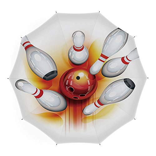 Folding Umbrella,Bowling Party Decorations,for Women Men Vinyl Anti-UV Lightweight 45 Inch,Red Ball with Spread Skittles Vibrant Abstract Vibrant Art -
