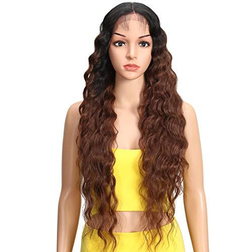 Joedir Lace Front Wigs 30'' Long Wavy Synthetic Wigs Ombre Black to Brown For Black Women 130% Density Wigs(TT1B/33)