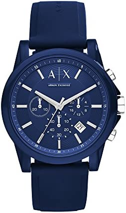 Armani Exchange stainless steel men's watch with analog quartz and silicone strap
