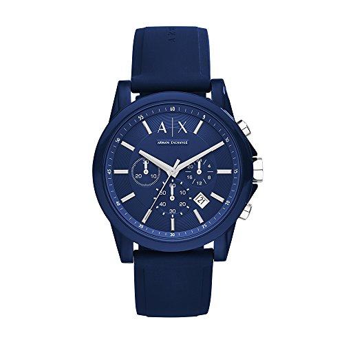 A X Armani Exchange Men's Silvertone Navy Nylon with Silicone Straps Watch