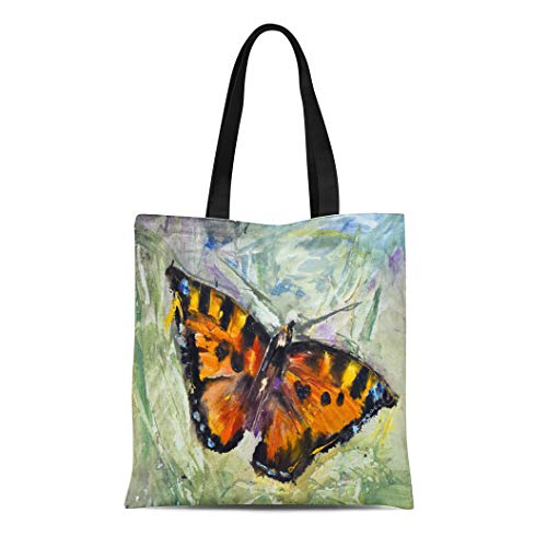 Bag Shoulder Bags Butterfly Grass Oil Canvas Modern Contemporary Watercolor Painting Pictorial Women's Handle Shoulder Tote Shopper Handbag ()