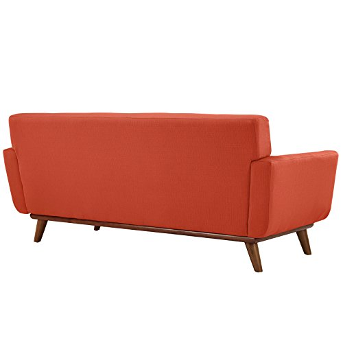 Modway Engage Mid-Century Modern Upholstered Fabric Armchair and Loveseat in Atomic Red, Set of 2