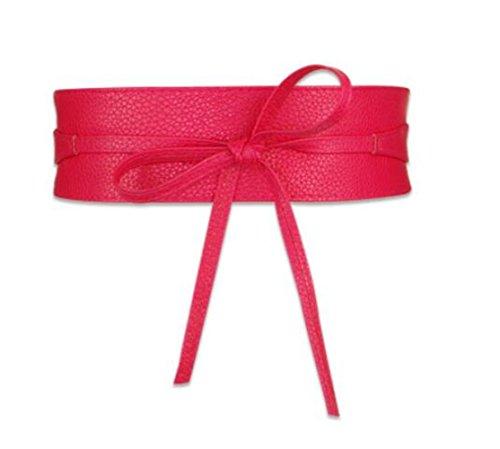 2SUN Women's Soft PU Leather Wrap Around Bow Tie Sash Belts Obi for Dress (Rose ()