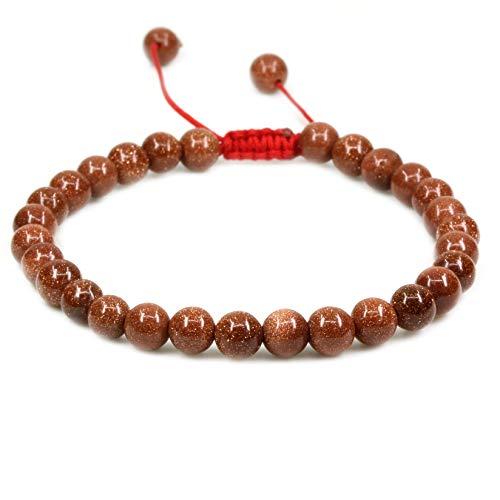 Synthetic Golden Sandstone 6mm Round Beads Adjustable Braided Macrame Tassels Chakra Reiki Bracelets 7-9 inch Unisex