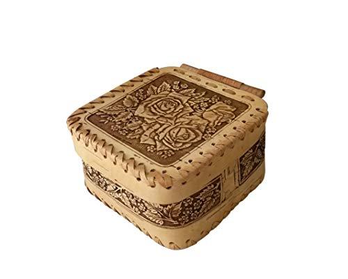 Tourmania Decorative Trinket Jewelry Keepsake Storage Box. Wooden Birch Bark Gift Boxes - Boxes Birch Bark