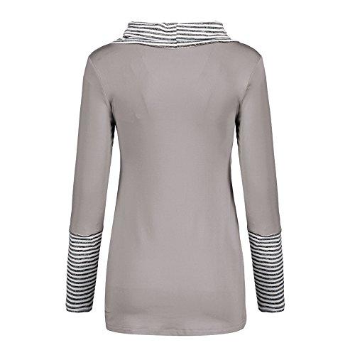 Blouse Longues Femmes Chemisiers Casual Raye Patchwork Manches Gavemenget et Hauts Automne Irrgulier Jumpers Tops Printemps Shirt Gris Tunique T YFxgqBa