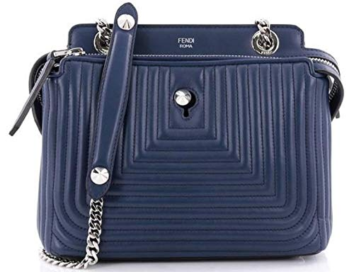 Fendi women's leather shoulder bag original dotcom nappa shiny blu