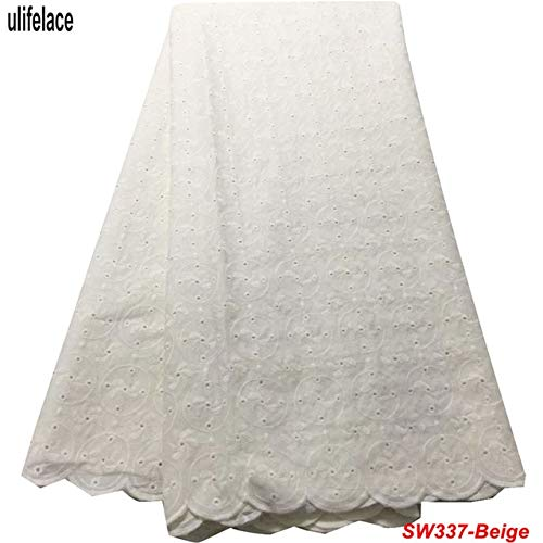 Lace African Swiss Voile Lace in Switzerland Eyelet Cotton Embroidered jtissu African lace Men's Party lace Fabric W-337 - (Color: - Eyelet Voile Cotton