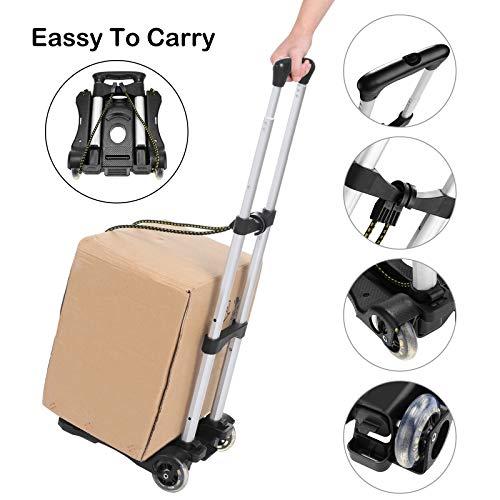 Coocheer Aluminum Folding Portable Luggage Cart Lightweight Travel Hand Truck/Heavy Duty Hand Trucks (80LB)