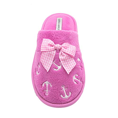 Scuff Laura Embroidered 974 Slipper Ashley Ladies Soft Terry Magenta rBzBUqE
