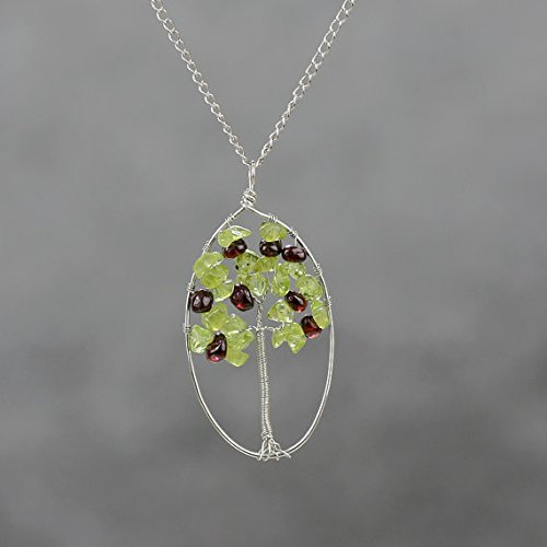 NewDreamWorld 28 x 50mm Oval White Copper Tree of Life Necklace-Peridot/Garnet Tree of Life Wire Wrapped Pendant, Gifts for Women -