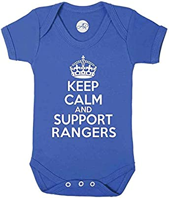 RANGERS PERSONALISED FOOTBALL BABY GROW CHOOSE YOUR NAME AND NUMBER SCOTLAND