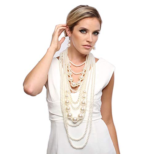 Fashion 21 Women's Chunky Multi-Strand Simulated Pearl Statement Necklace and Earrings Set in Cream Color (Cream - Style B)
