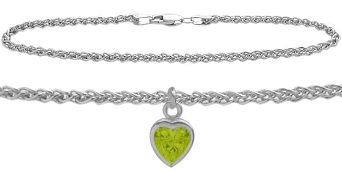Genuine Sterling Silver 9 Inch Wheat Anklet with Genuine Peridot Heart - Charm Peridot Silver Sterling