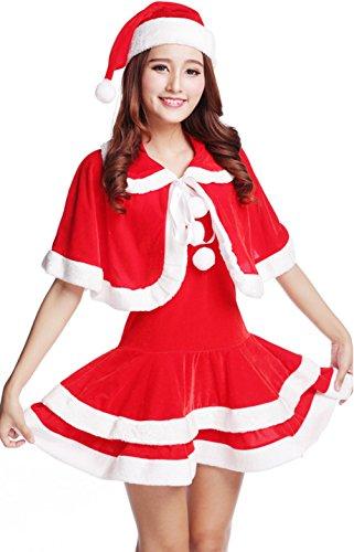 Zerowin MS Santa's Sexy Dress with Cape Costume For Girls - Mrs Santa Claus Girls Santa Costume Freesize for US2-4 (Mrs Claus Dress For Girls)