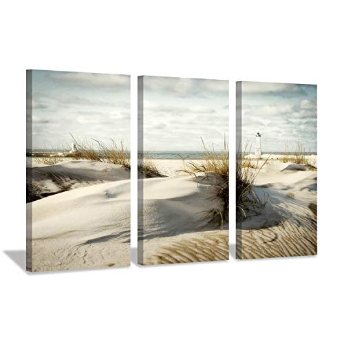 Hardy Gallery Beach Artwork Seascape Picture Prints: Coastal Sand Dunes Picture Wall Art on Canvas for Office Living Room (26'' x 16'' x 3 Panels) - Art Print Artwork