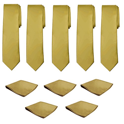Mens Necktie Pocket Square 10 Pcs Set Solid Color Tie and Handkerchief for Wedding - Necktie Gold Handkerchief Color