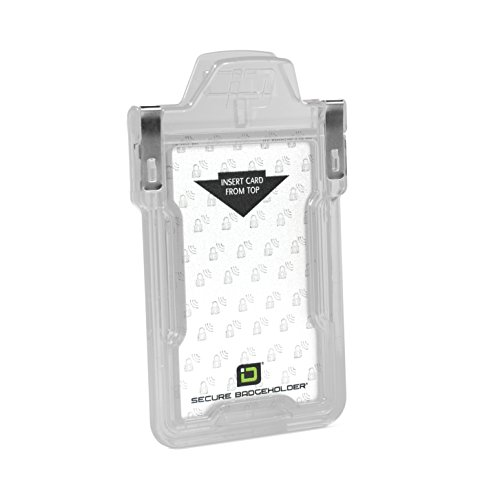 Identity Stronghold - Secure RFID Badge Holder for 1 Card - Heavy Duty Hard Plastic ID Badge Holder - FIPS 201 Approved RFID Blocking Security - Molded and Assembled in The USA - Clear ()