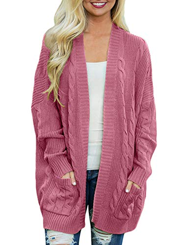 - Doballa Women's Boyfriend Open Front Long Sleeve Cable Knit Aran Twisted Cardigan Sweaters Coat With Pockets (M, Pink)