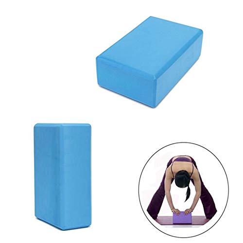 Blocos Pilates Yoga Kit 2 Ginastica Fitness Eva Exercicio Musculacao Azul