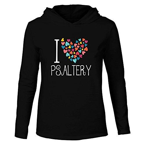 Idakoos I Love Psaltery Colorful Hearts Musical Hooded Long Sleeve T-Shirt
