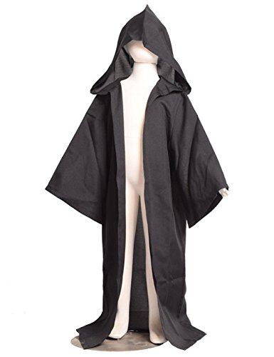 [Gameyly Kids Halloween Cosplay Hooded Robe Cloak 150 Black] (Adult Knight To Remember Costumes)