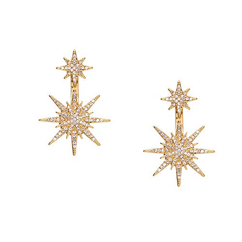 Dangle Jacket - Star Stud Dangle Snowflake Earrings Women Christmas Shinning Rhinestone Fashion Party Wedding Clip on Ear Jacket Jewelry Gold