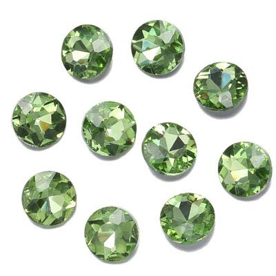 Pukido Diamond Cut Face Round Shape Rhinestones Piontback Sewing Rhinestones Strass Stones and Crystals Sew on Rhinestones for Clothes - (Color: Peridot, Size: 8mm 50pcs)