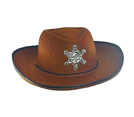 Lotto Set di 6 pezzi - feltro Cappello da cowboy con marrone stella per i 0a69ab7fd33