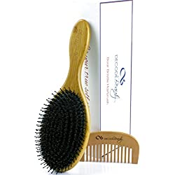 Boar Bristle Hair Brush, Natural Wild Boars Bristles Mixed with Nylon Pin, Hair Brushes For Women Men Girls Kids, Large Oval Bamboo Paddle, Massage Scalp, Stimulate Natural Oil Production, Add Shine