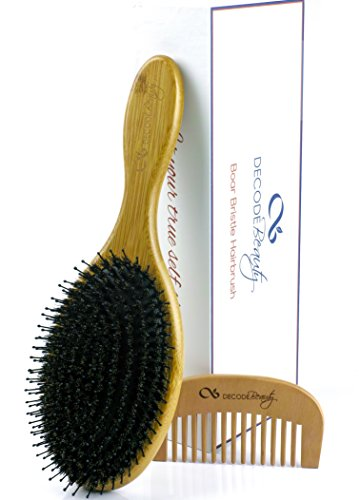 Boar Bristle Hair Brush, Natural Wild Boars Bristles Mixed with Nylon Pin, Hair Brushes For Women Men Girls Kids, Large Oval Bamboo Paddle, Massage Scalp, Stimulate Natural Oil Production, Add Shine (Nylon Pin)